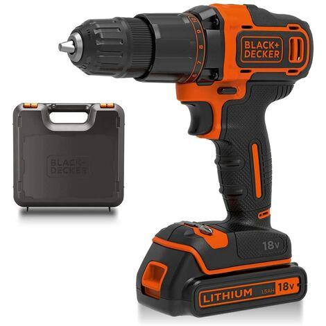 BLACK AND DECKER 18v Hammer Drill 1.5Ah Battery, charger & Kit box BCD700S1K-GB