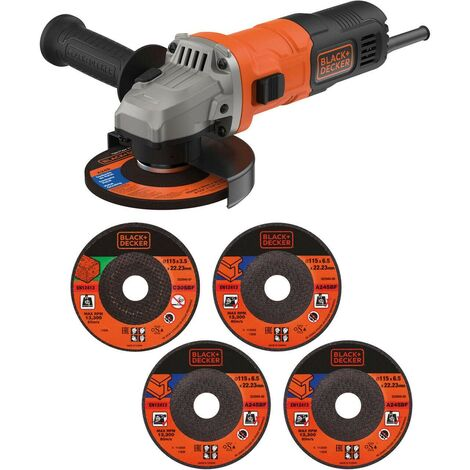 "Black and Decker 240v 115mm 4.5"" Angle Grinder 710W 5 Cutting Discs BEG010A5-GB"
