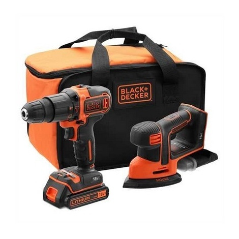 Black and Decker - Kit d'outils 18V perceuse à percussion + ponceuse delta - BCK23S1S