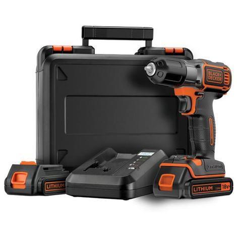 Black and Decker - Perceuse à batterie 18V 1,5Ah Li-Ion avec coffret et accessoires - ASD18KB - TNT