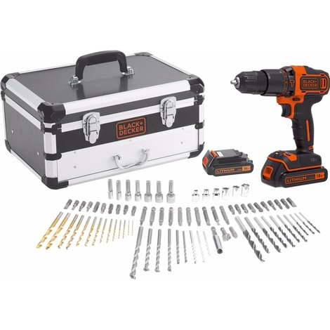 Black and Decker - Perceuse à percussion à batterie 18V 1,5Ah Li-Ion avec Coffret Accessoires - TNT