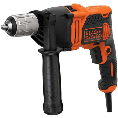 Black and Decker - Perceuse à percussion filaire 850 W 54400 cps/min mandrin autoserrant 13 mm avec 6 forets - BEH850-QS