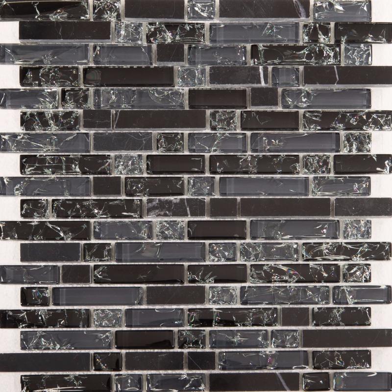 Image of Black and Grey Glass & Black Stone Brick Shape Mosaic Tiles Sheet (MT0155)