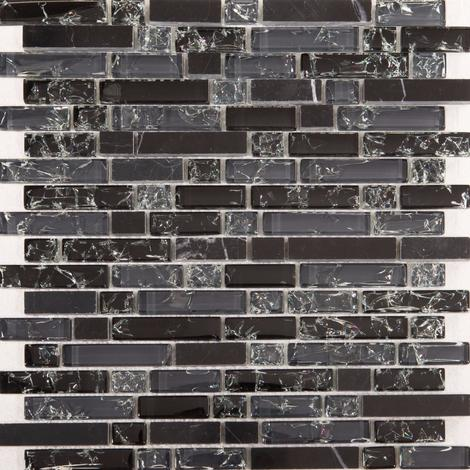 Black and Grey Glass & Black Stone Brick Shape Mosaic Tiles Sheet MT0155