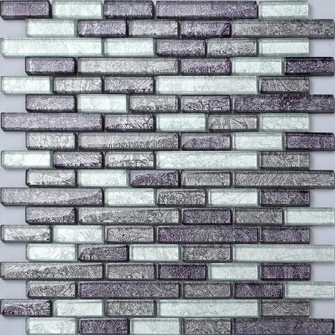 Black And Silver Glass Brick Mix Bathroom Kitchen Mosaic Tiles MT0093