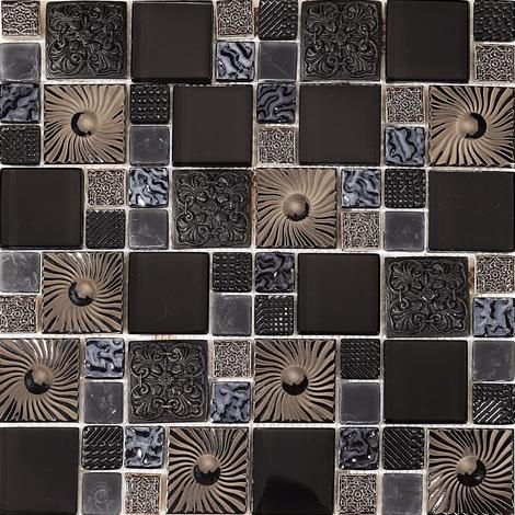 Black and Silver Patterned Glass and Steel Mosaic Tile Sheet MT0149