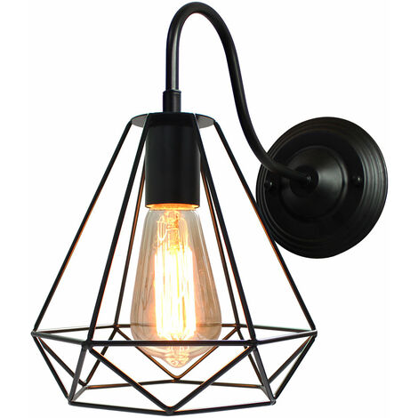Black Antique Classic Lamp Industrial Ceiling Lamp Diamond Cage Chandelier E27 Bulbs for Cafe Bedroom Indoor Decoration