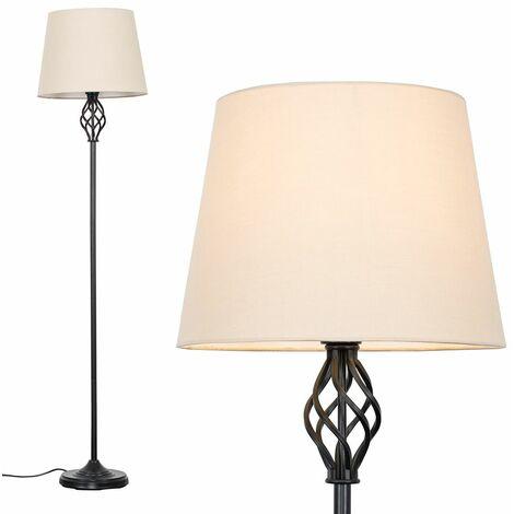 Black Barley Twist Floor Lamp + Beige Tapered Light Shade