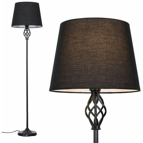 Black Barley Twist Floor Lamp - Black - Black