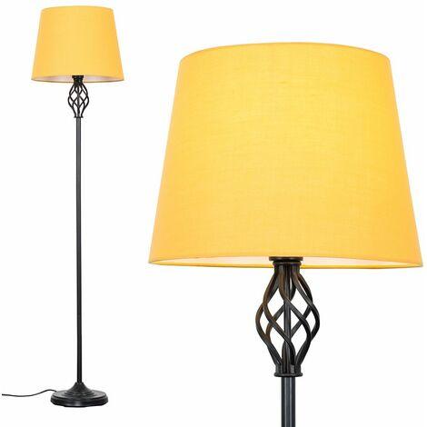 Black Barley Twist Floor Lamp - Mustard - Black
