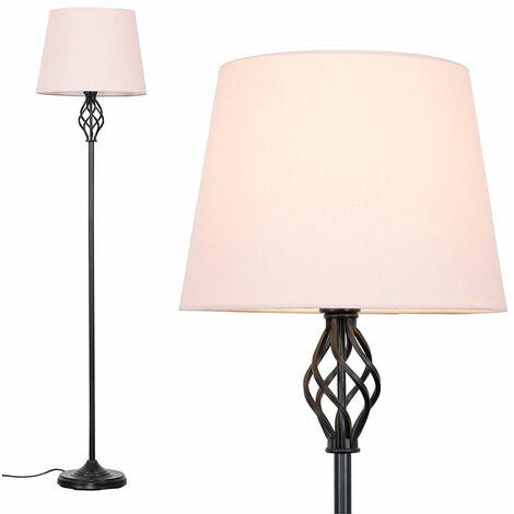 Black Barley Twist Floor Lamp - Pink - Black