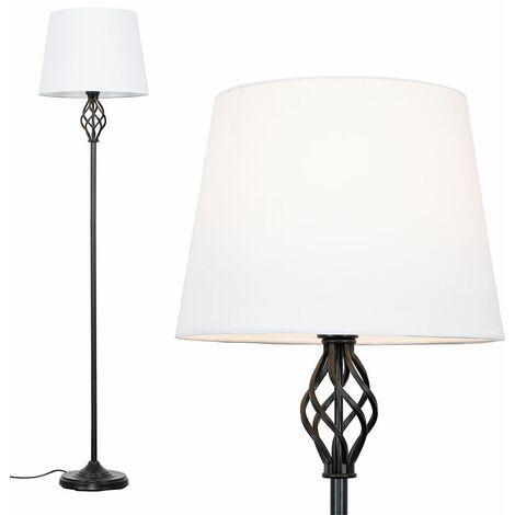 Black Barley Twist Floor Lamp - White - Black