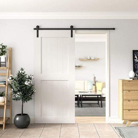 Black Barn Pulley Door Hardware Kit Sliding Track Steel Slide Track Rail Door Antique Style Sliding Door for Flat Sliding Panel Wood Single Door Closet Cabinet 200CM (Sliding Door Mechanism)
