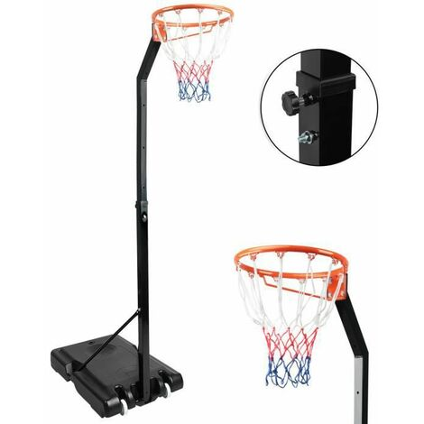 Black Basketball Hoop & Stand System on Wheels Adjustable 245-305cm Backboard Net