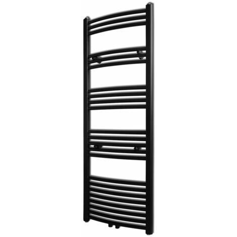 Black Bathroom Central Heating Towel Rail Radiator Curve 500x1424mm - Black