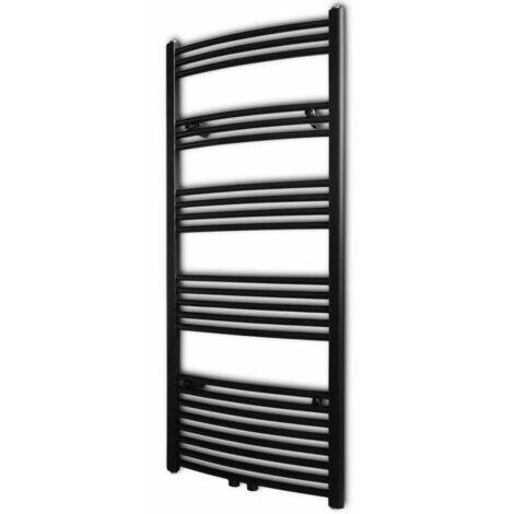 Black Bathroom Central Heating Towel Rail Radiator Curve 600x1424mm - Black