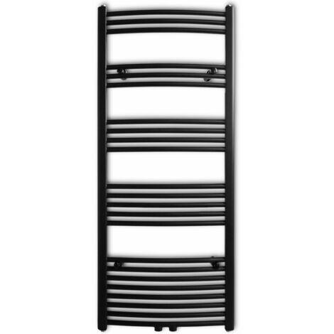 Black Bathroom Central Heating Towel Rail Radiator Curve 600x1424mm QAH04196