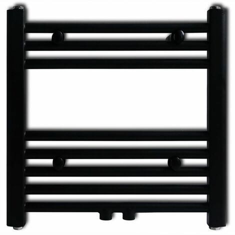 Black Bathroom Central Heating Towel Rail Radiator Straight 480x480mm QAH04184