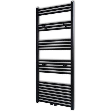 Black Bathroom Central Heating Towel Rail Radiator Straight 600x1424mm - Black