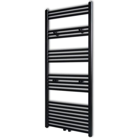 Black Bathroom Central Heating Towel Rail Radiator Straight 600x1424mm - Black