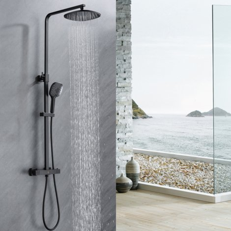 "Black Bathroom Thermostatic Mixer Shower System with 9.5"" Rainfall Shower Head and 4.7"" Hand Shower, Extended to 33-47"", Square Rod"