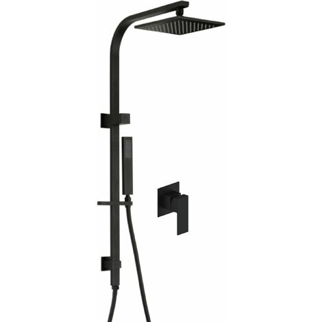 Black brass mixer shower column - Sirius