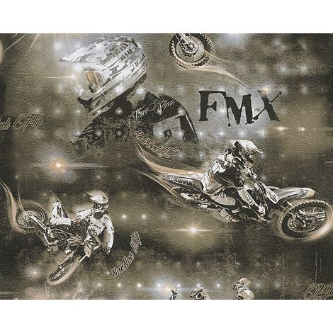 Black Brown Beige Motorbike Wallpaper Motocross Children's Room A.S Creation