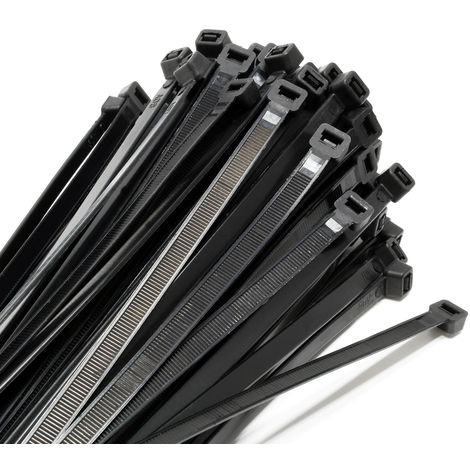 Black Cable Ties 100 Pieces Heavy Duty 7.2x250 mm Self Locking Cable Straps