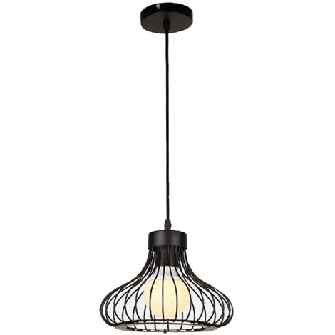 Black Cage Simple Adjustable Ceiling Light Vintage Industrial Pendant Light Creative Retro Chandelier for Indoor Decoration
