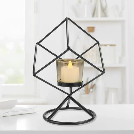 Black Candle Holder, Geometric Metal Candle Holder, Retro Candle Holder Decoration Tealight Creative Vintage Candle Holder Used for Easter Party / Wedding / Party Events / Home Decoration