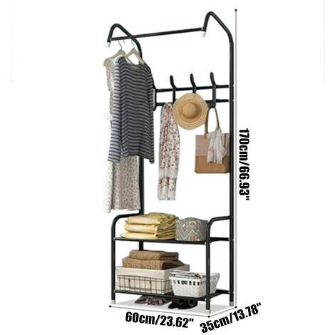 Black Carbon Steel Coat Rack with Shoe Rack Mohoo