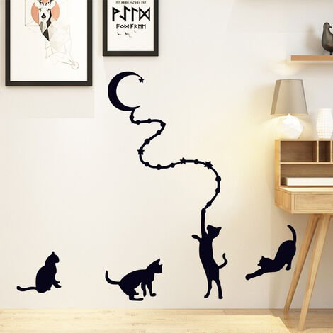 Black Cat Removable Wall Stickers Art Decal Home Decoration