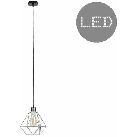 Black Ceiling Flex Lamp Holder + Grey Shade + 4W LED Filament Bulb Warm White