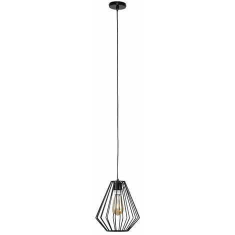 Black Ceiling Flex Lampholder Pendant Light + Black Open Metal Diamond Light Shade + 4W LED Filament Bulb - Warm White