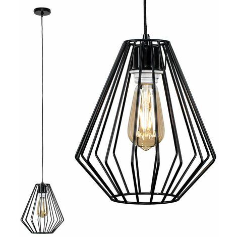 Black Ceiling Flex Lampholder Pendant Light + Black Open Metal Diamond Light Shade