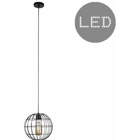 Black Ceiling Flex Lampholder Pendant Light + Black Open Metal Globe Light Shade + 4W LED Filament Bulb - Warm White