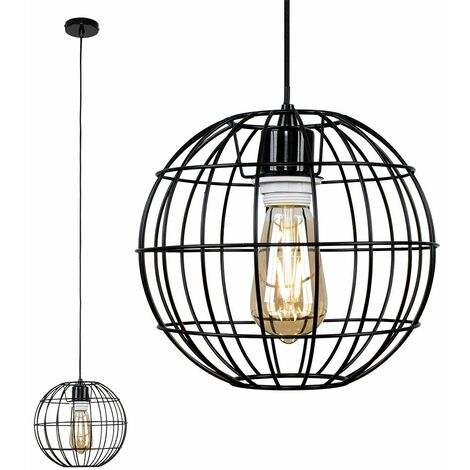 Black Ceiling / Flex Lampholder Pendant Light + Black Open Metal Globe Light Shade