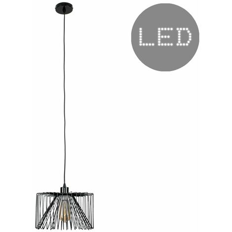 Black Ceiling / Flex Lampholder Pendant Light + Black Wire Metal Light Shade - LED Bulb