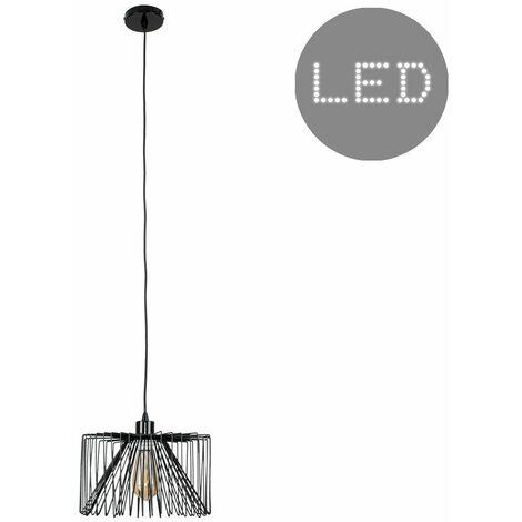Black Ceiling / Flex Lampholder Pendant Light + Black Wire Metal Light Shade - LED Bulb