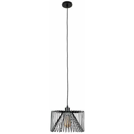 Black Ceiling / Flex Lampholder Pendant Light + Black Wire Metal Light Shade - No Bulb