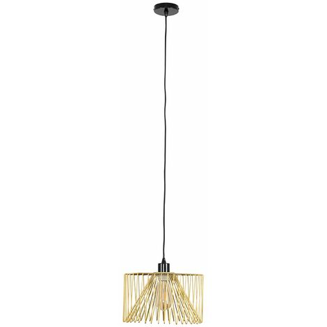 Black Ceiling Flex Lampholder Pendant Light + Gold Wire Metal Light Shade