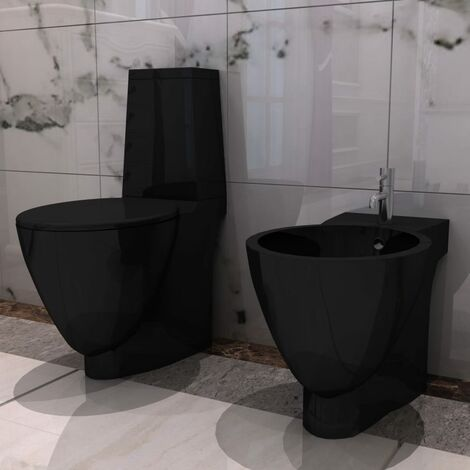 Black Ceramic Toilet & Bidet Set