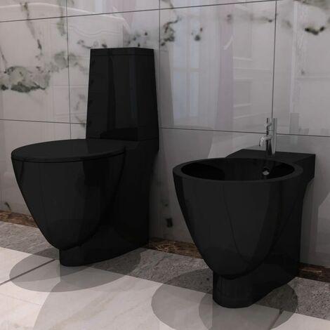 Black Ceramic Toilet & Bidet Set - Black