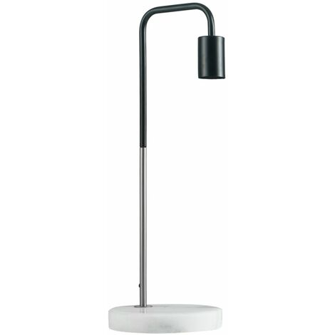 Black & Chrome Metal Table Lamp + White Marble Base