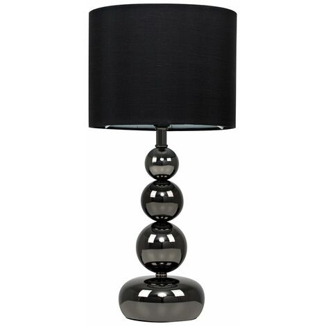 Black Chrome Stacked Balls Touch Dimmer Table Lamp + Black Faux Silk Shade