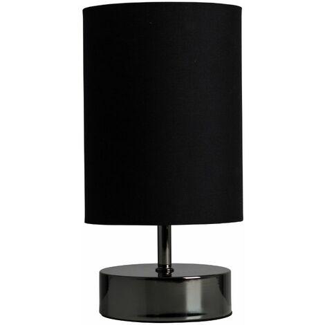 Black Chrome Touch Dimmer Bedside Table Lamp + Black Light Shade