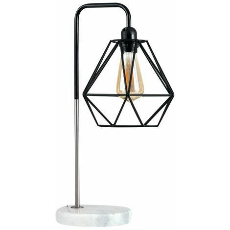 Black Chrome & White Marble Table Lamp + Black Metal Cage Shade