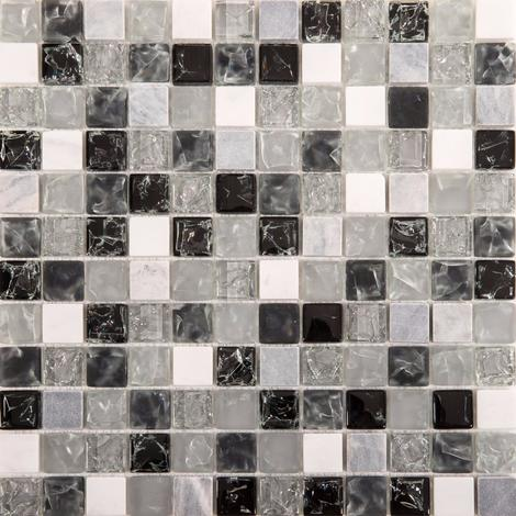 Black & Clear Crackled Glass and Stone Bathroom Kitchen Mosaic Tile MT0152