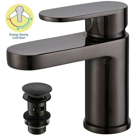 Black Compact Cold Start Eco Round Mono Basin Mixer Tap + Clicker Waste WRAS