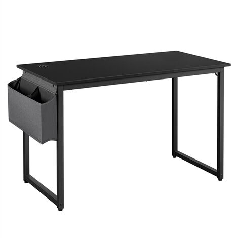 Black Computer Desk, Writing Desk with Steel Frame, Home Office Desk Study Table with Storage Bag and 2 Hooks
